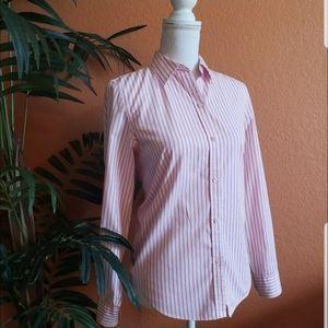3/$25 Chaps Cotton No Iron Stripe Button Down Pink